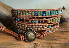 Rustic Picasso Beaded Leather Wrap Bracelet 28.25-29.25'' long Handmade Yevga