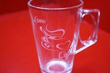 VETRO inciso a laser Tazza Da Caffè Tazza color Cafe Latte vetro Love Caffè Cappuccino