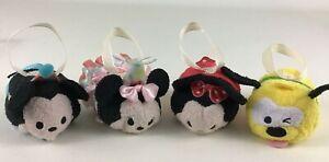 Disney Tsum Tsum Birthday Party Mickey Minnie Mouse Pluto 4pc Lot Bean Bag Plush