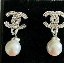 Silver Crystal Pearl Look Drop Stud Earrings