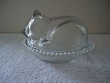 "Vintage Oval Clear Glass Cat Sleeping Shaped Candy Dish "" BEAUTIFUL COLLECTIBLE"