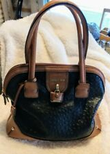 London Fog Med Black/Brown Purse Handbag Ostrich Simulated Leather Double Handle