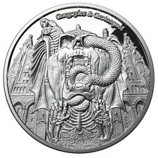 "2017 1 Oz PROOF Silver ""DECAY"" GARGOYLES & GROTESQUES Coin 1000 Francs"