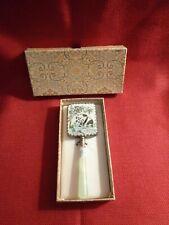 Antique Chinese Hand Mirror Porcelain Panda Scene Silver Trim Jade Handle in Box
