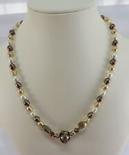 Vintage Rice Freshwater Pearls & Rhinestone 18 Inch Necklace Sterling Silver Fin