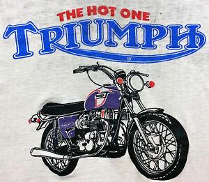 Vintage 70s TRIUMPH MOTORCYCLES Myers Springfield Massachusetts T SHIRT sz M