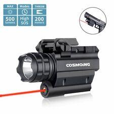 500Lm Adjust Weapon Compact Red Laser Gun Rail Pistol Light Led Flashlight Combo