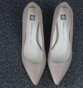 ANNE KLEIN iFlex Light Peach Shimmer Leather Mid Heel Court Shoes Size UK 6