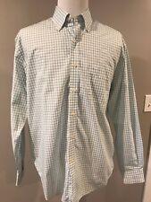 LYLE & SCOTT  Men Size L Button Down Shirt Blue Green Checked 100% Combed Cotton