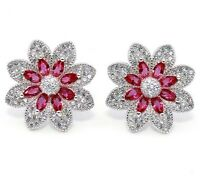 Must Have 2CT Ruby & White Topaz 925 Sterling Silver Earrings Jewelry, V7