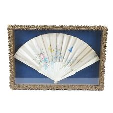 Antique satin hand fan hand painted in gold leaf shadowbox frame white blue pink