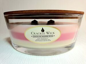 Crackle wick Large candle 2 wood wick Pink Grapefruit, rose, driftwood 485g New!