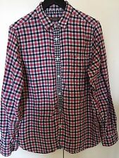 BEN SHERMAN 100% Soft Cotton Red Black White Check Long Sleeve Casual Shirt  M