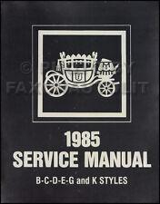 1985 Olds Body Shop Manual Supreme Calais Cutlass Toronado Royale Delta 88