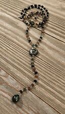 """Tourmaline Rosary Necklace Tahitian Pearl, Black MOP Rose & Spinel Beads 34"""" R2"""
