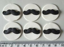 30 x cupcake toppers moustache discs cake birthday edible decorations