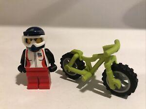LEGO Female Mini Figure w/ Helmet & Lime Green Mountain Bike Grey Wheels