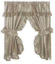 """Lauren"" Window Curtain with Ruffled Valance, Linen"