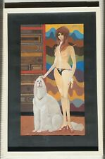 MANFRED OESTERLE 1928-2010 large original signed modernism painting Afghan hound
