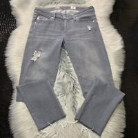 Adriano Goldschmied AG Womens Jeans Stilt Cigarette Crop Distressed Gray Sz 27R