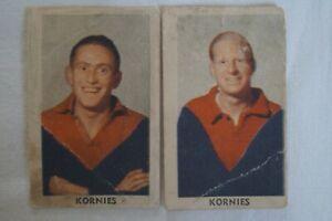 Melbourne Demons AFL-VFL Vintage 1949 Kornies Victorian Footballers Cards x 2