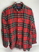 Mens RALPH LAUREN Red Green Holiday Plaid Button Down Shirt Size Large