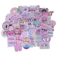 53Pcs Kawaii pink fun stickers luggage scrapbook suitcase laptop car stickers EF