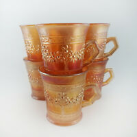 Set of 6 FENTON Marigold Carnival Glass Mug ORANGE TREE Iridescence Cup