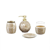 Mosaic Bathroom Accessories Set , 4 Piece Bath Accessory Sets With Gold Soap , ,