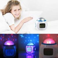 Children Sky Star Night Light Projector Lamp Bedroom Clock Alarm W/ Music Home