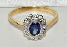 9ct Yellow Gold on Silver Blue Sapphire Art Deco Style Cluster Ring size P