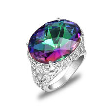 Super Huge Gorgeous Shiny Rainbow Blue Mystic Topaz Silver Ring US Size 7 8 9