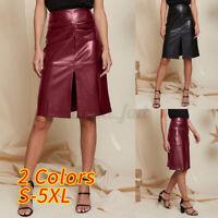 UK Womens Ladies PU PVC Leather High Waist Party OL Dress Midi Pencil Skirt 8-26