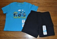 Plaid Tractor T-Shirt & Black Athletic Cargo Shorts Set Outfit 12 Months