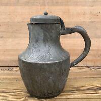 Vintage Battered French Metal Lidded Jug Coffee Pot Decorative Medieval Tankard