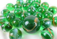 25 Glass Marbles JUNGLE Green/Orange transparent game vtg style Shooter Swirl
