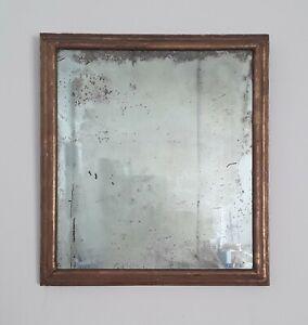 Spiegel mit uraltem Glas, vergoldete barocke Rahmenleiste,. 45 x 41cm. außen