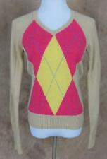 LILLY PULITZER~Cashmere~Sz M~Tan Pink Yellow~Argyle~V-Neck~Sweater