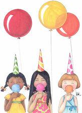Mary Engelbreit-3 Ice Cream Cones Balloons-Blank Greeting Card/Envelope-New!