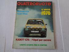 QUATTRORUOTE - GENNAIO 1976 / ANNO XXI / N°241 - KADETT GTE: L'OPEL PER CORRERE