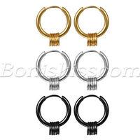2pcs Men's Women's Stainless Steel Circle Beads Hoop Huggie Earrings Ear Studs
