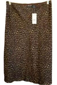 New York Co Womens Silk Brown Leopard Skirt Light Cool Unlined Elastic Waist  XL