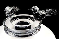 "RENATO ANATRA SIGNED MURANO ART GLASS LARGE 13"" BIRDS PERCHED CRYSTAL BOWL 1983"