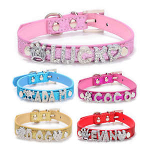 Personalised Dog Collar Pet Name crystal bling Charms Puppy UK Tag Customised