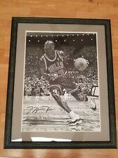 MICHAEL JORDAN UDA Autographed Framed 16x20 Black White Stipple Giclee Rare