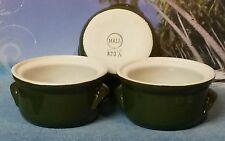 Vintage Hall Pottery Individual Casserole Crock Bowl - Set of 3 Green 820 1/2