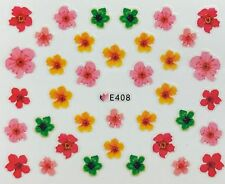 Nail Art 3D Decal Stickers Pink Orange Red Green Flowers E408