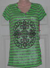 "New! Katydid Green & Gray V-Neck Rhinestone Tee w/ Faith & Trust ~ M / 34"" Bust"