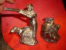 Ancien Briquet Scène de Chasse Chien & Chasseur Dog Hunter Lighter en régule