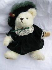 Pickford Brass Button Bears Bianca Bear of Love Dark Green Velveteen Dress